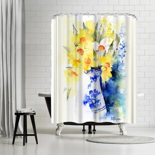 Rachel McNaughton Daffs Vase Shower Curtain by East Urban Home