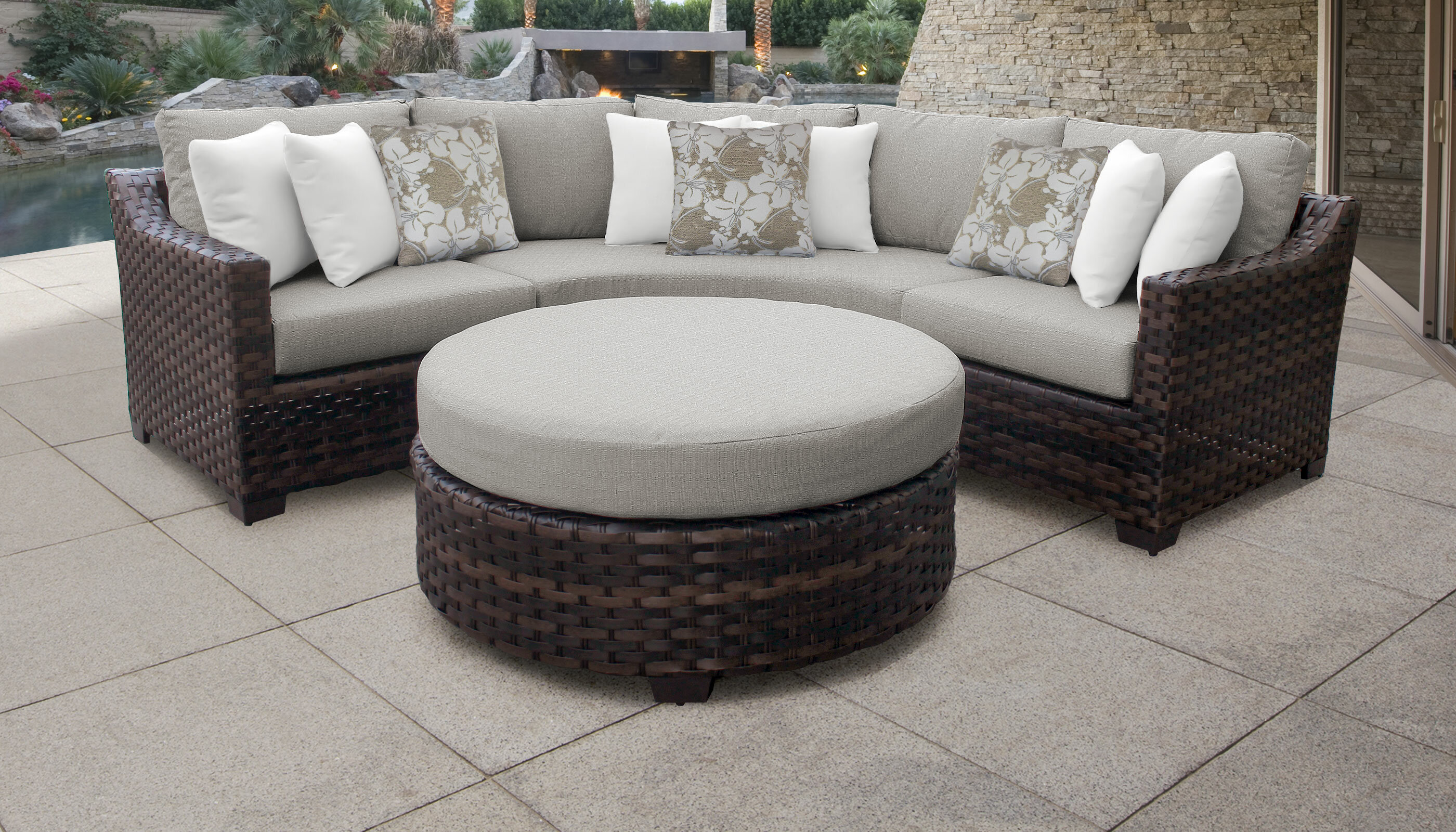 Kathy Ireland Homes Gardens By Tk Classics River Brook 4 Piece Outdoor Rattan Sectional Seating Group With Cushions Reviews Wayfair