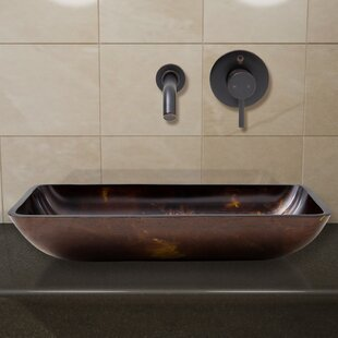 VIGO Fusion Glass Rectangular Vessel Bathroom Sink with Faucet