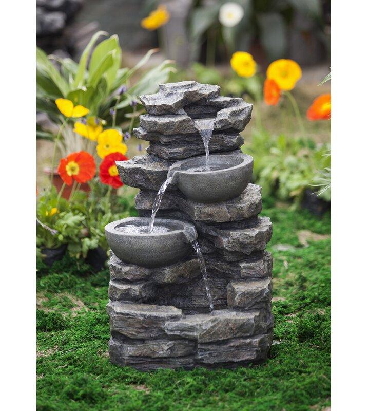 Resin Fibergl Rock And Pot Waterfall Water Fountain