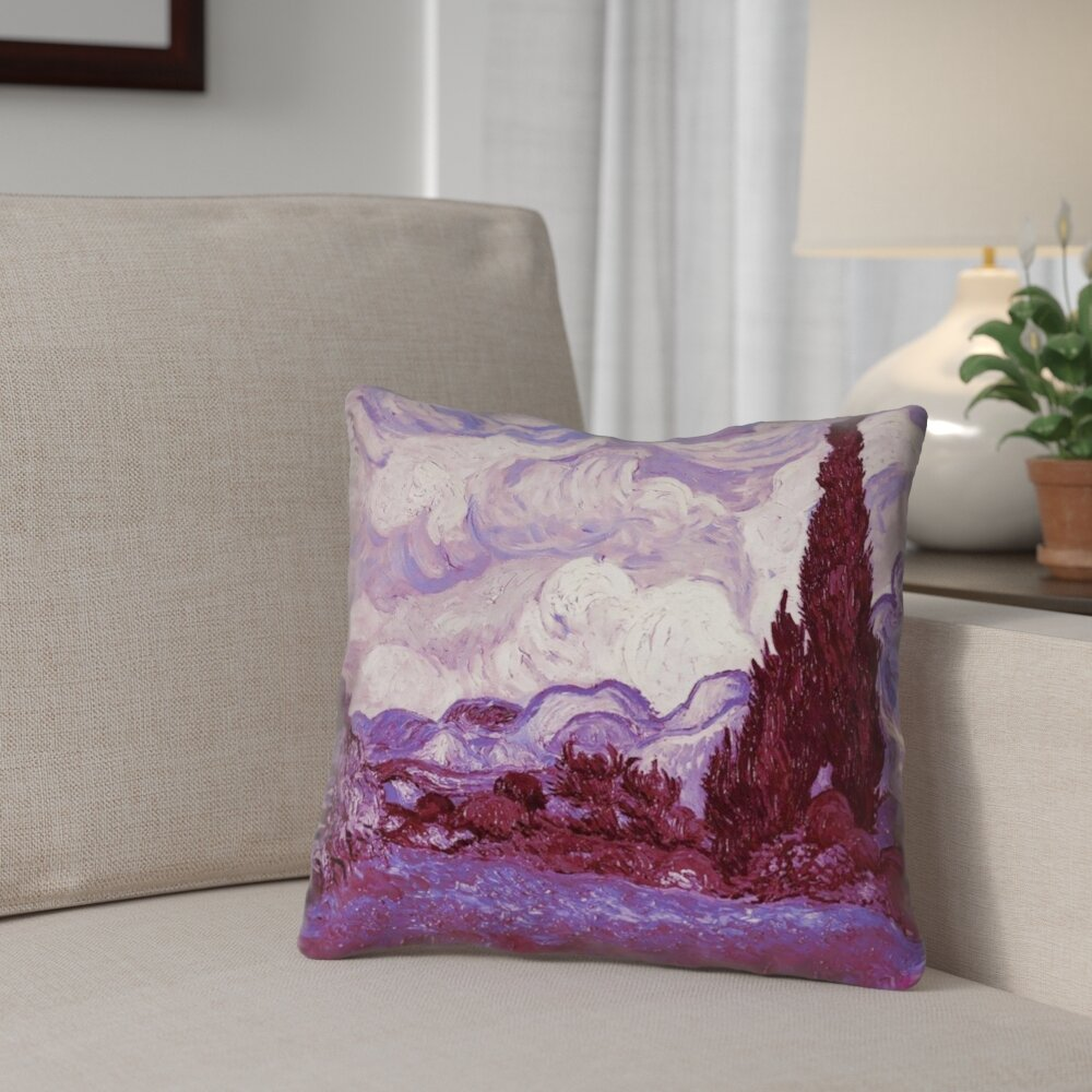 Red Barrel Studio Kinsey Mauve Wheatfield With Cypresses Indoor Square Throw Pillow Wayfair