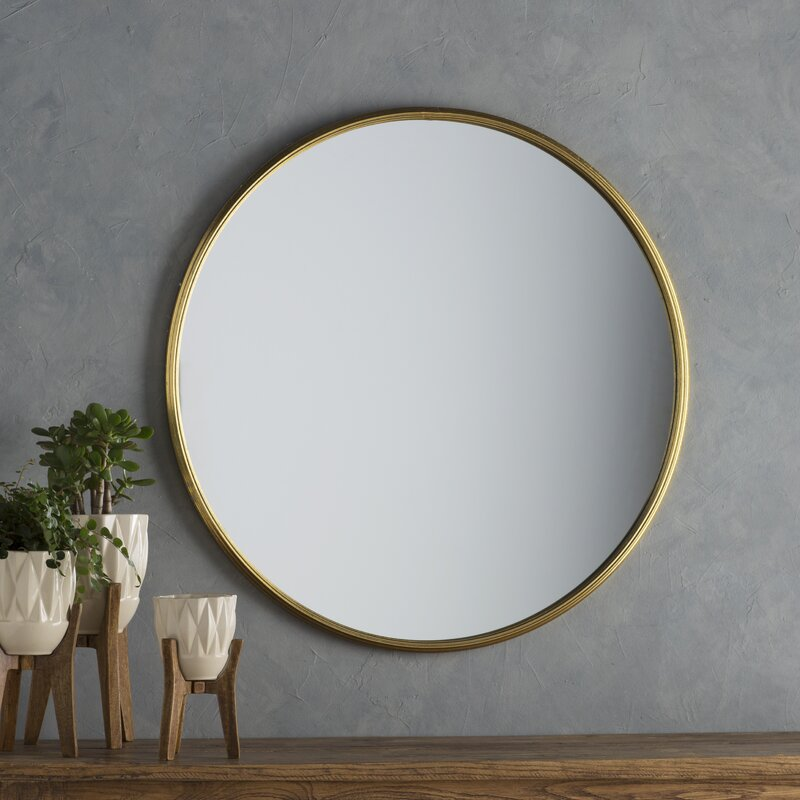 lark round metal wall mirror