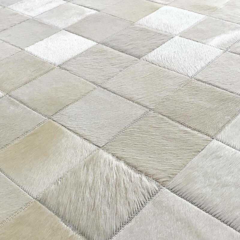 Beeston Patchwork Hand Woven Cowhide Off White Area Rug