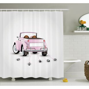 Junya Just Married Cartoon Car Shower Curtain Set