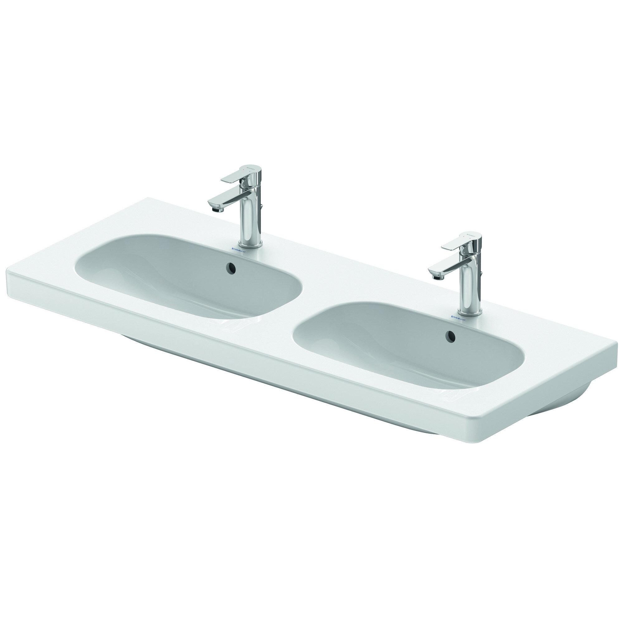Duravit White Ceramic Rectangular Wall Mount Bathroom Sink With Overflow