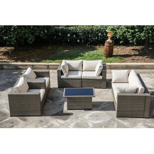 Valentin 7 Piece Sectional Set Rattan with Cushions