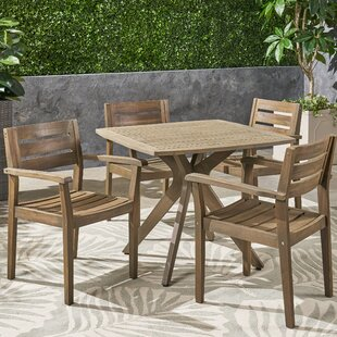 Sir Outdoor Acacia Wood 5 Piece Dining Set