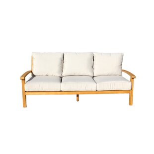 Chancy Courtyard Teak Patio Sofa with Cushions