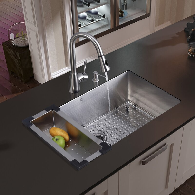 32 Inch Undermount Single Bowl 16 Gauge Stainless Steel Kitchen Sink With  Aylesbury Stainless Steel Faucet