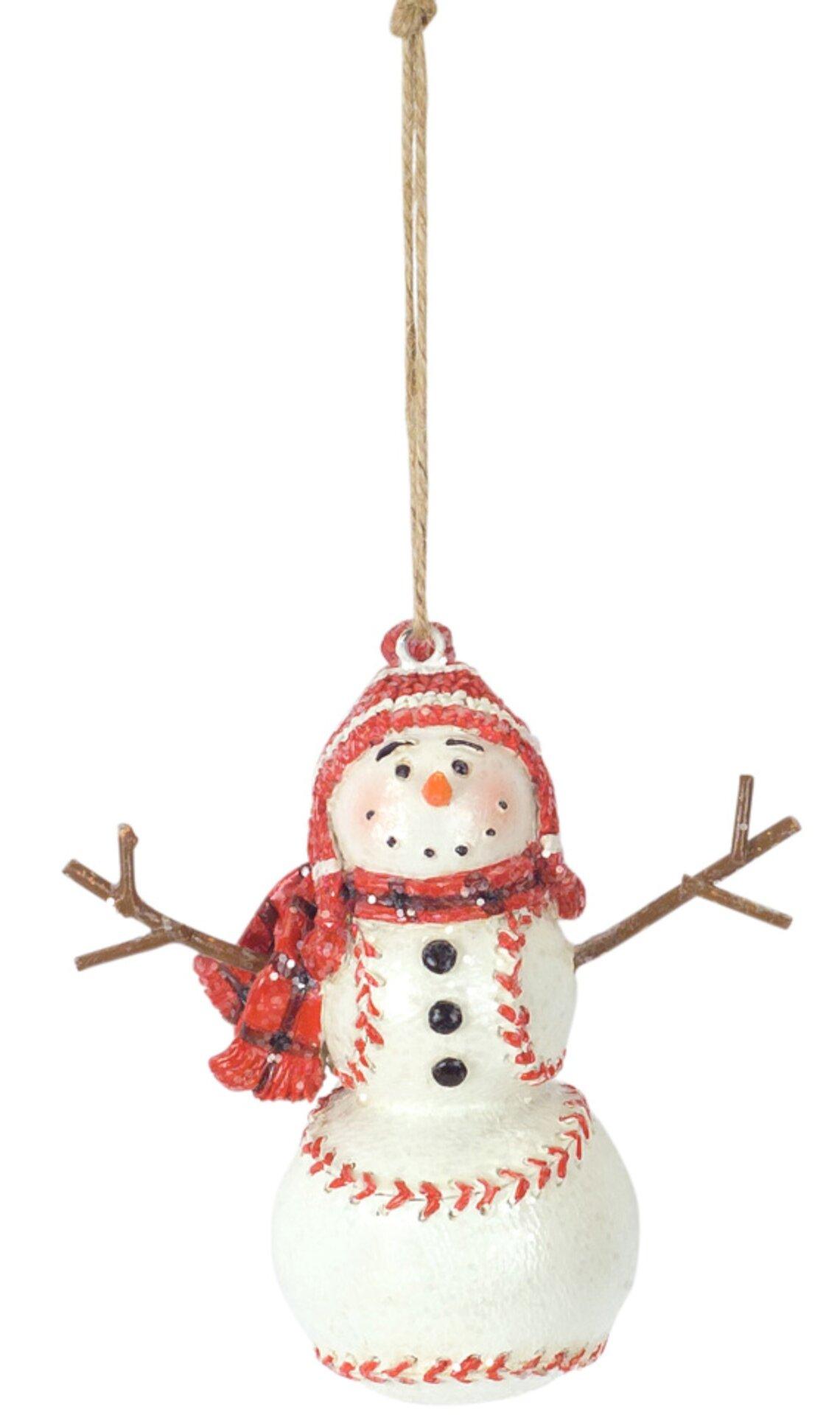 The Holiday Aisle Baseball Snowman Ornament Set Of 6 4 25 H Resin Wayfair