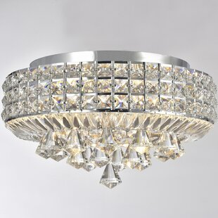 Everly Quinn Madilynn 4-Light Flush Mount with Clear Crystals