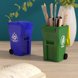 Ebern Designs Reva Mini Curbside Trash and Recycle Can 2 Piece Pencil Cup Set