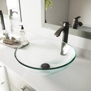 VIGO Tempered Glass Circular Vessel Bathroom Sink ByVIGO
