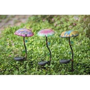 3 Piece Mushroom LED Solar Garden Stake Set