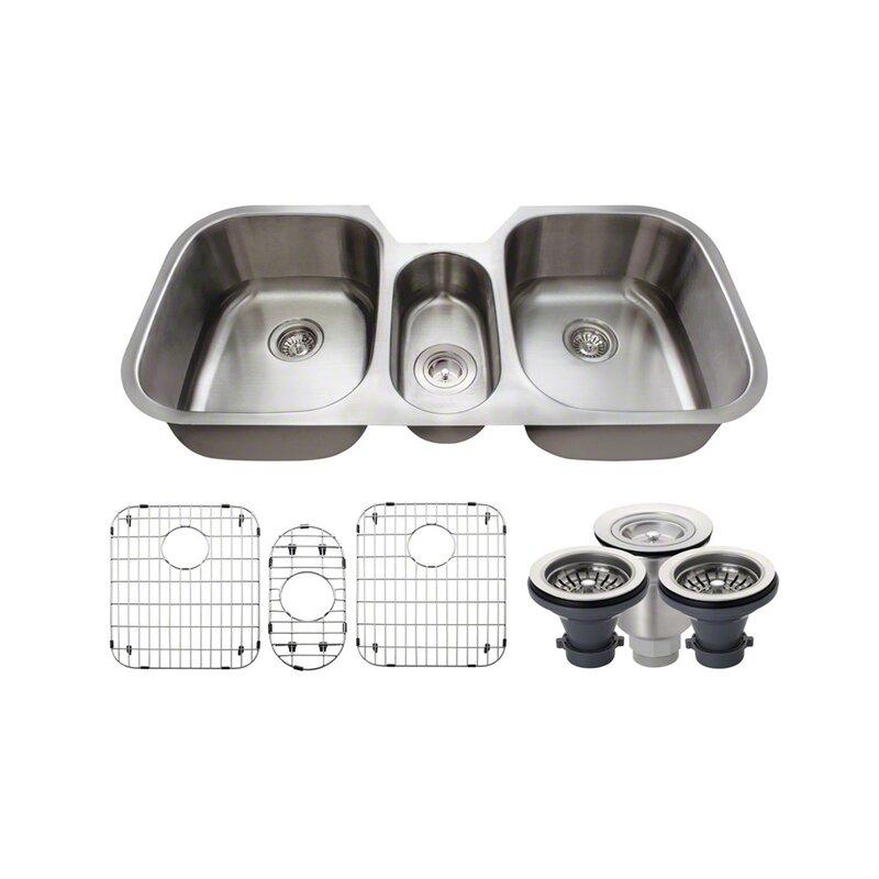stainless steel 43   x 21   triple basin undermount kitchen sink with additional accessories mrdirect stainless steel 43   x 21   triple basin undermount kitchen      rh   wayfair com