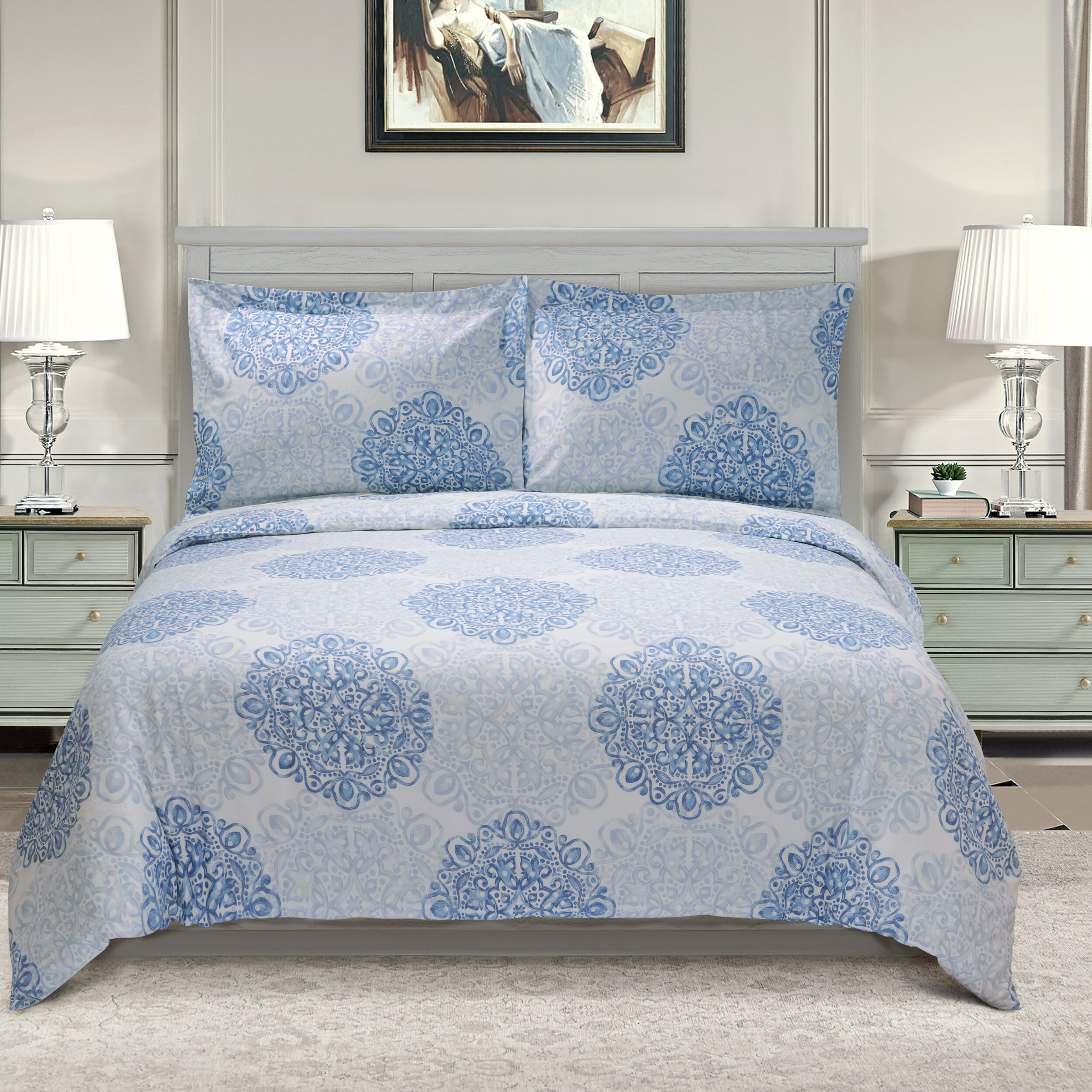 The Twillery Co Benito Damask Egyptian Quality Cotton Duvet Cover Set Reviews Wayfair