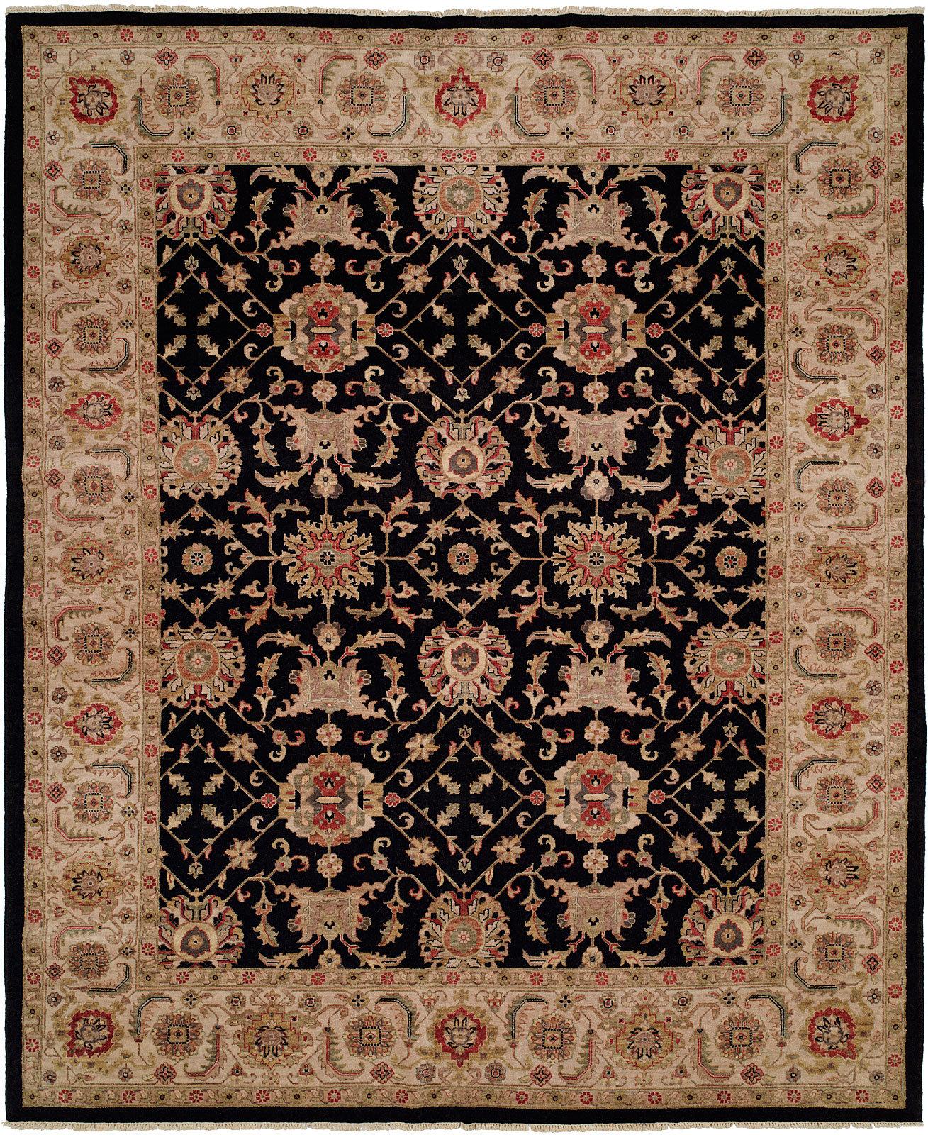 Darby Home Co Elena Oriental Hand Knotted Wool Black Beige Area Rug Wayfair