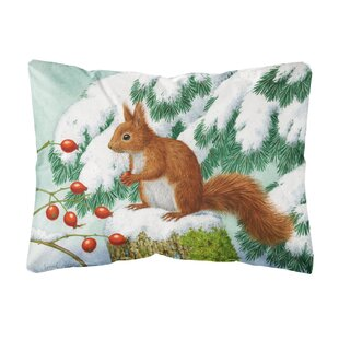 Natoma Winter Squirrel Fabric Indoor/Outdoor Throw Pillow