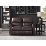 Benvolio 64 Wide Genuine Leather Rolled Arm Reclining Loveseat by Winston Porter