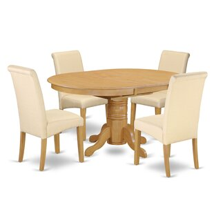 Park Ridge Oval Table 5 Piece Extendable Solid Wood Dining Set Charlton Home