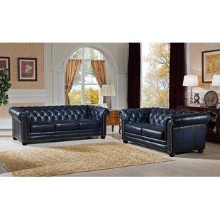 Kraig 2 Piece Leather Living Room Set ByCanora Grey