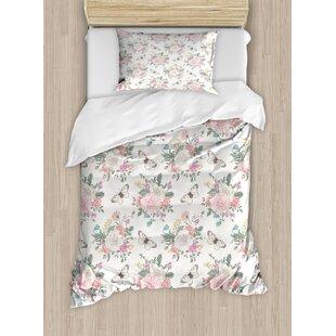 Shabby Elegance Peonies Sweet Peas Roses Bouquet And Erflies Pastel Tones Bridal Theme Duvet Cover Set