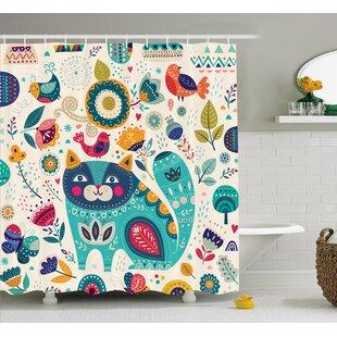 Lottie Cat Figure with Birds Shower Curtain by Zoomie Kids