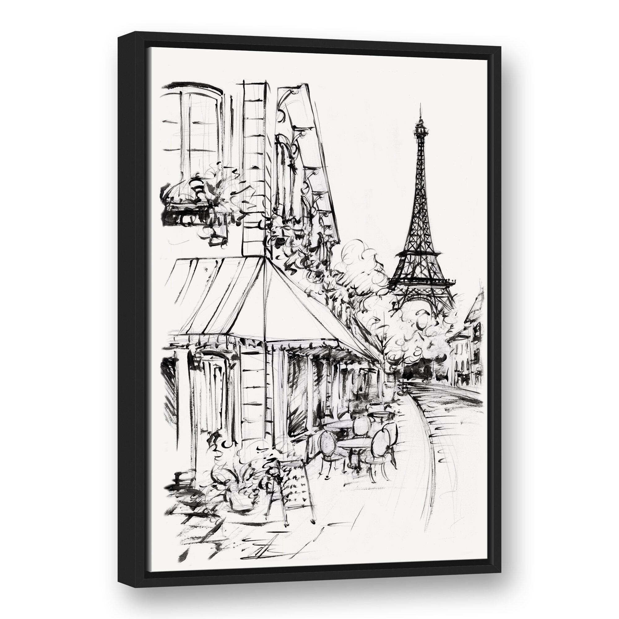 Ophelia Co Paris Street Sketch Framed Drawing Print On Canvas Wayfair