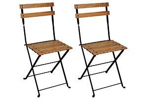 French European Café Folding Patio Dining Chair (Set of 2)
