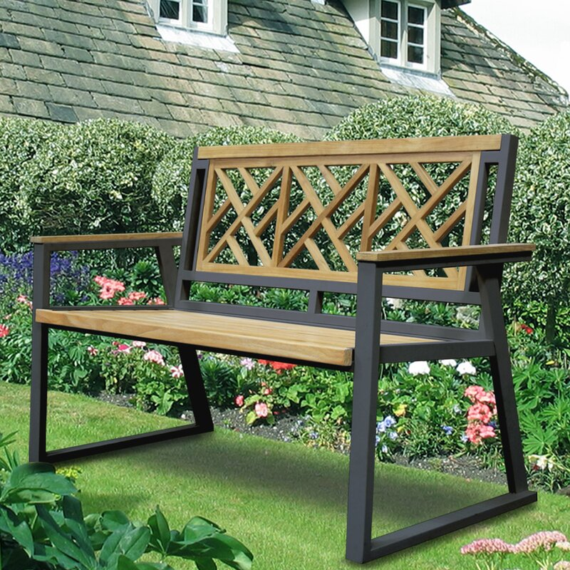 Asta Furniture, Inc. California Room Chippendale Teak And Iron Garden Bench