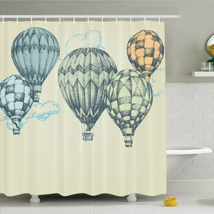 Vintage, Hot Air Balloons in Soft Tone Fly in Sky Lighter Than Air High Tourism Artful Shower Curtain Set