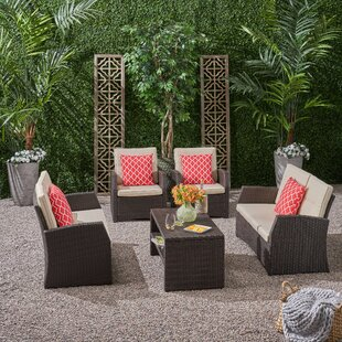 Mayer Outdoor 5 Piece Sofa Seating Group with Cushions