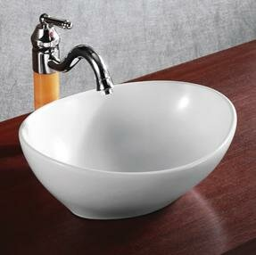 Elanti Ceramic Oval Vessel Bathroom Sink