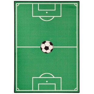 Football Field Tufted Green Rug