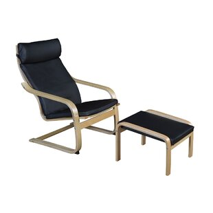 Asellus Bentwood Recliner and Ottoman Ebern Designs