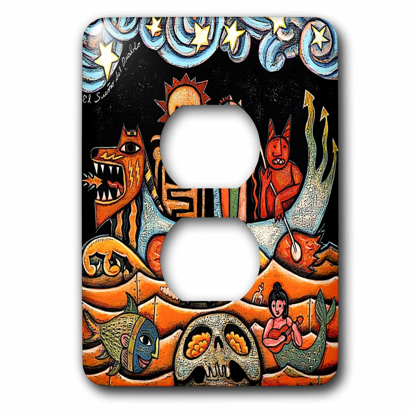 3drose The Devil S Dream Folk Art Skulls Mexican Surrealism 1 Gang Duplex Outlet Wall Plate Wayfair