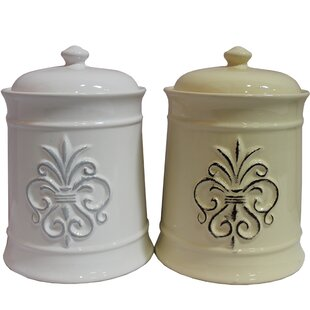 Modern Ceramic 2 Piece Kitchen Canister Set (Set of 2)