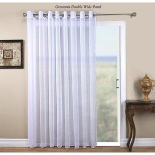 Sliding patio door curtains wayfair tergaline patio solid sheer grommet single curtain panel planetlyrics Choice Image