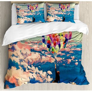 East Urban Home Adventure Flying with Colorful Balloons in the Sky on Clouds Miracle Paint Print Duvet Set