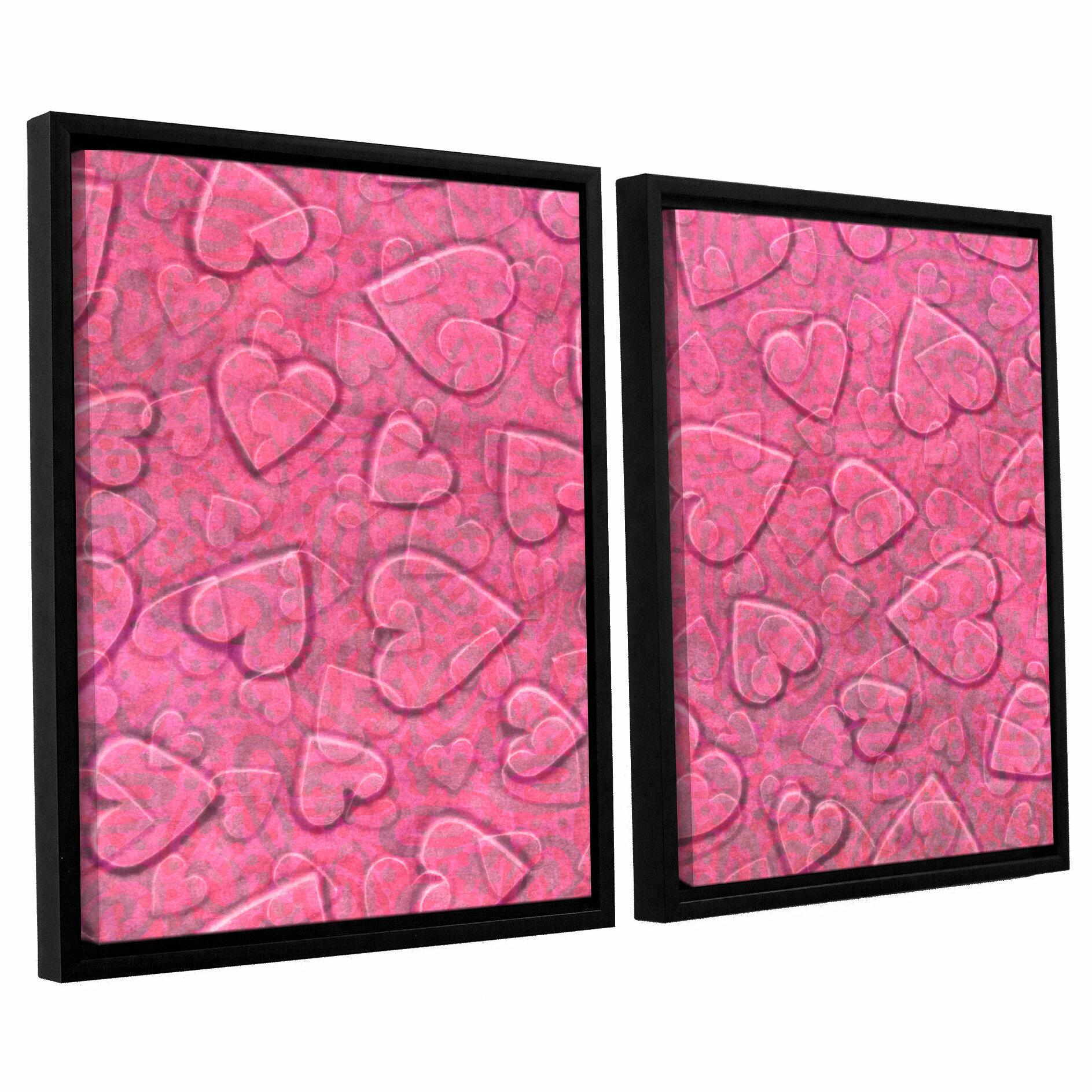 Zoomie Kids Large Heart Mixed Pattern 2 Piece Set Framed Art Wayfair