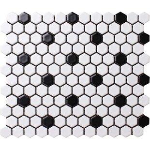 Value Series Dot 1'' x 1'' Porcelain Mosaic Tile in Matte White/Black