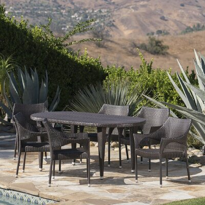 Brayden Studio Bracondale Outdoor Dining Set Color: Brown