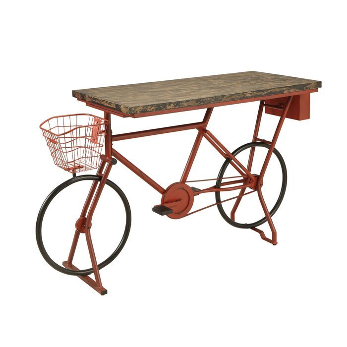 Hayley Metal Bicycle Base Distressed Wood Pub Table