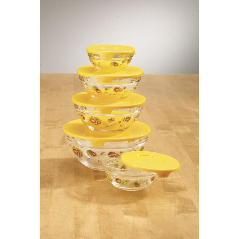 Walter Drake Sunflowers Glass 5 Container Food Storage Set Wayfair