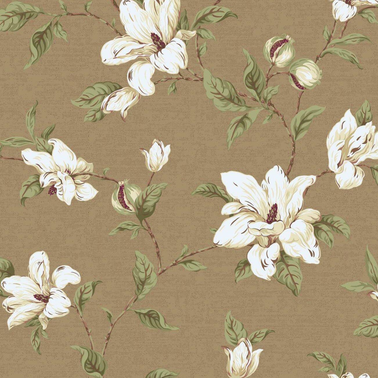 WHITE MAGNOLIAS SATIN FINISH MAUVE BACKROUND FLORAL Wallpaper bordeR Wall Decor