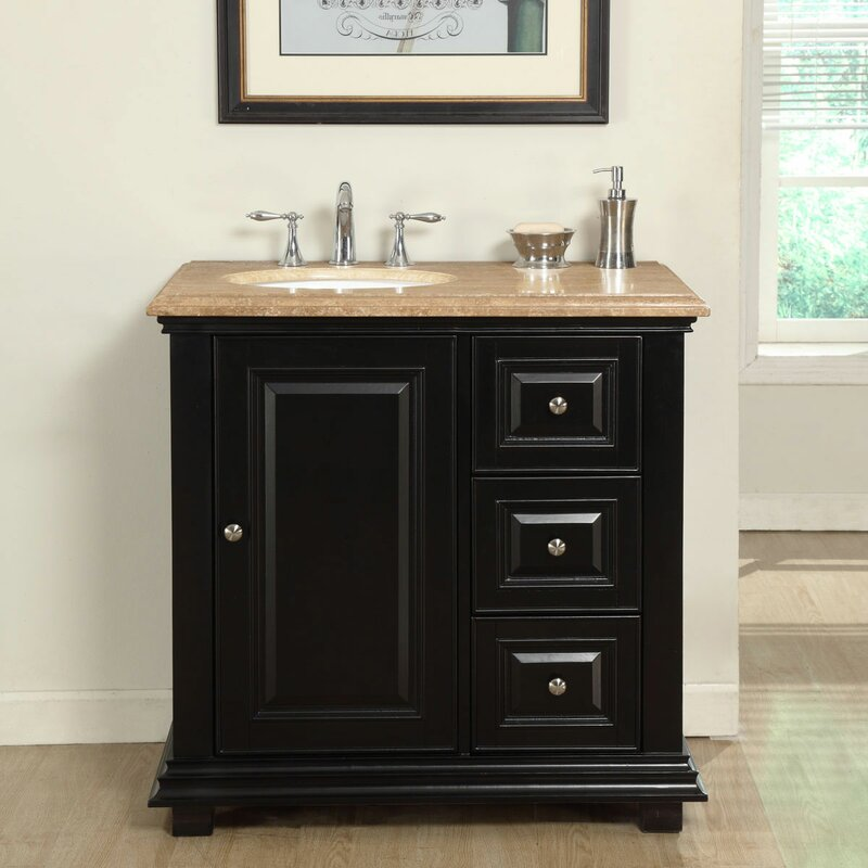 "36"" Single Sink Bathroom Vanity Set with Sink on Left"