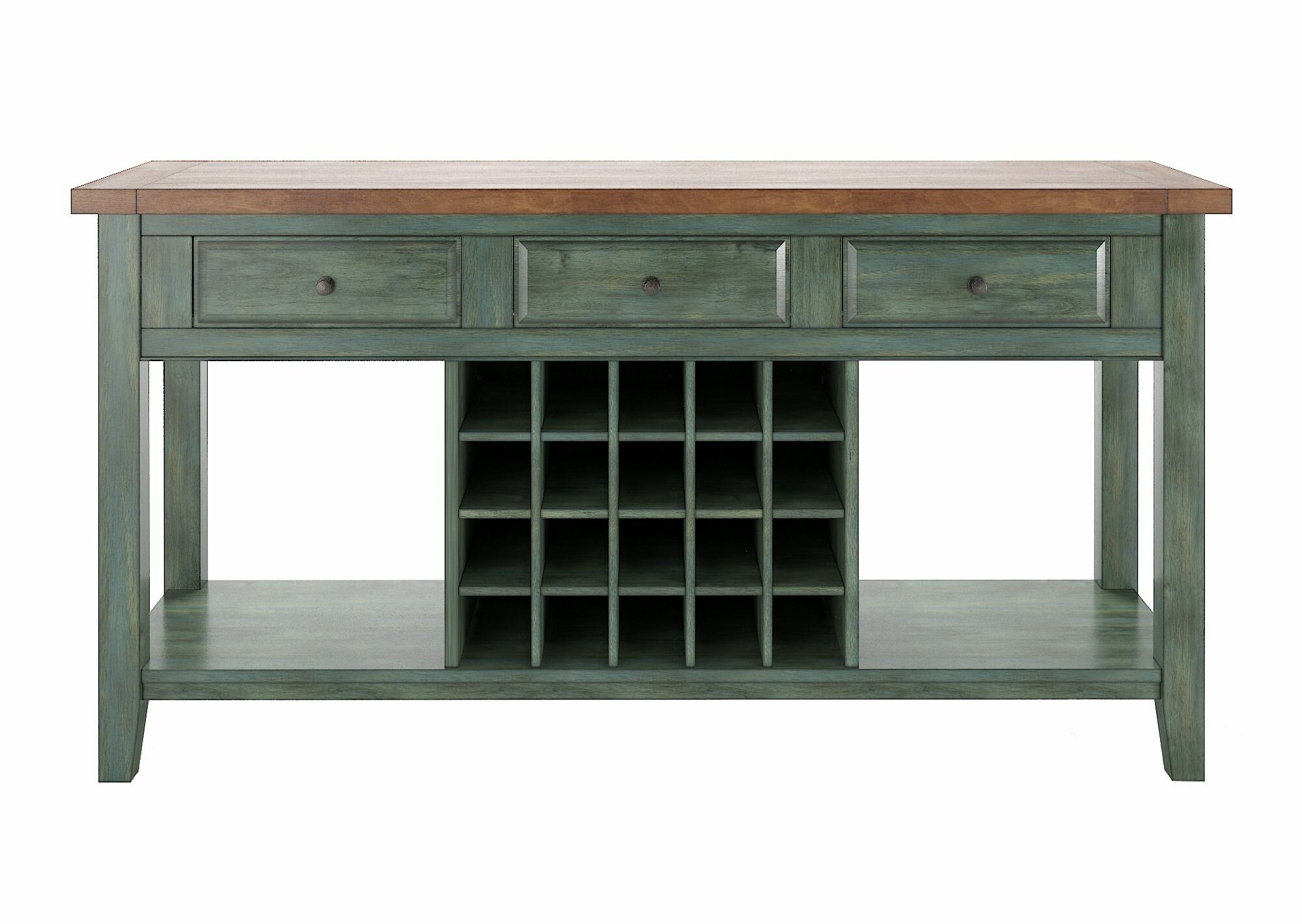 Fortville Wood Wine Rack Buffet Table