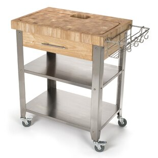 Francis Kitchen Cart with Butcher Block Top by Rebrilliant