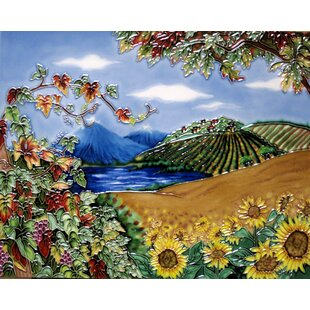 Vineyard with Sunflower Field Tile Wall Decor