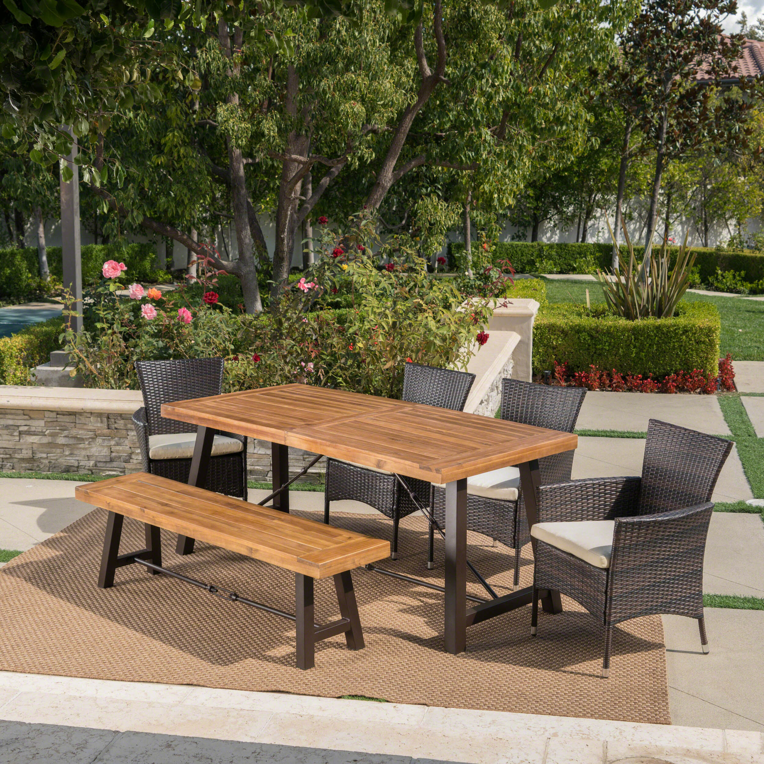 Red Barrel Studio Mccourt Outdoor 6 Piece Dining Set With Cushions Reviews Wayfair